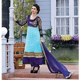 Net Fabric Anarkali In Light Blue Color