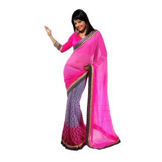 FabPandora Women's Pink,grey Georgette Saree With Blouse Piece