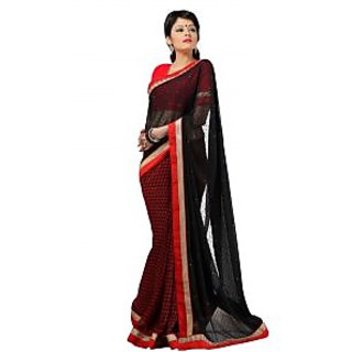 FabPandora Women's Black,Red Georgette Saree With Blouse Piece