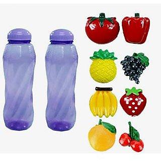 2 Stylish Water Bottles and 8 Pcs. Fridge Fruit Magnet