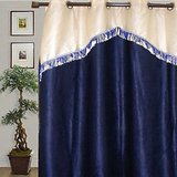 JBG  Home Store  Fancy Lace Design Blue Curtain(9 Ft)
