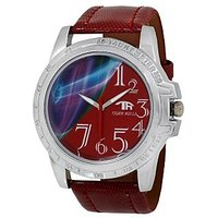 Tigerhills Round Dial Red Leather Strap Mens Watch