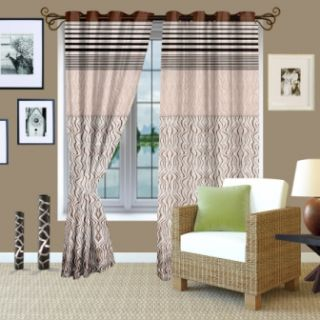 Story@Home Brown Jaquard Berry Curtain 1 pc Window curtain