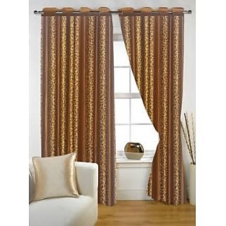 Story@Home Brown Polyster Window Curtain Nature 2 pc Window curtain