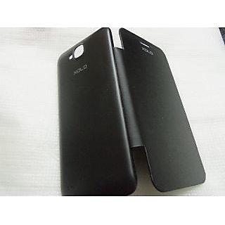 LAVA XOLO q800 Q 800 Black Leather Caller ID Flip Flap Diary Case Cover Pouch