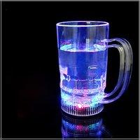 Free Shipping BEER & COLA MUG WITH LED LIGHT FLASHING,LED LIGHT-UP DRINKWARE BEER MUG/6LED