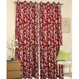 New Breeze Maroon Door (7X4 Ft) Curtain