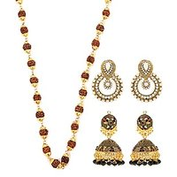 Rudraksh Mala With Antique Earrings And Pearl Earrings