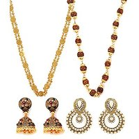 Ginni And Rudraksh Mala With Earrings