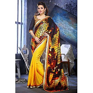 Ethnic Basket Sleek Yellow Crepe Saree