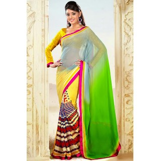 Ethnic Basket Affluent Multi-Color Georgette Saree