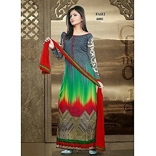 Long Straight Cut Attractive Designer White Salwar Suit