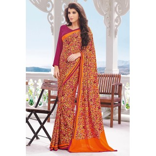 Ethnic Basket Amusing Orange Crepe Saree