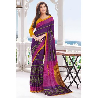 Ethnic Basket Fabulous Purple Crepe Saree