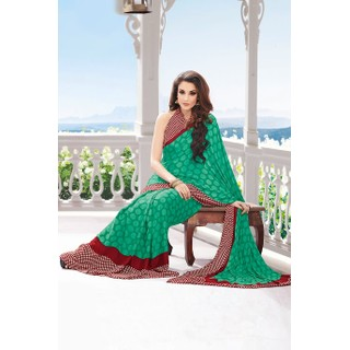 Ethnic Basket Wonderful Green Crepe Saree