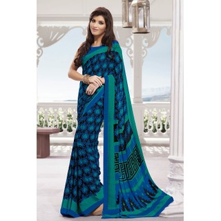 Ethnic Basket Noticeable Blue Crepe Saree