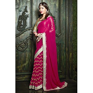 Ethnic Basket Bold Pink Georgette Saree