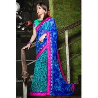 Ethnic Basket Mesmerizing Blue Georgette Saree