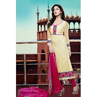 Ethnicbasket Designer Cream Dress MaterialAnarkali Suit