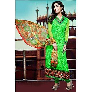 Ethnicbasket Party Wear Green Dress MaterialAnarkali Suit
