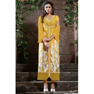 Ethnicbasket Casual  Yellow Salwar KameezAnarkali Suit