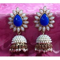 Aashiqui 2 dark blue pearls jhumka earrings