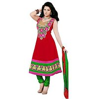 Florence Red Paakhi Combric Cotton Embroidered Suit