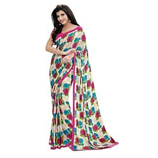 Fabdeal White  Pink Colored Crepe Printed Saree