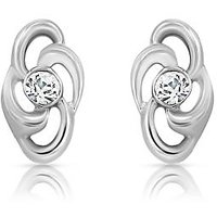 Mahi RhodiumPlated Treasure Earrings With CZ