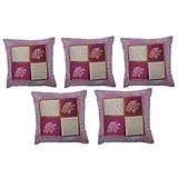 Pink Chesswork Cushion Cover (Set Of 5)
