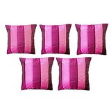 Pink Stripes Cushion Cover (Set Of 5)