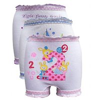 Kids White Colour Multi Design Bloomers (Pack of 3)