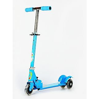 3 Wheel Height Adjustable Kids Folding Scooter for Indoor  Outdoor Fun (Blue)