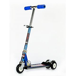 Heavy Metallic Big Size 3 Wheel Height Adjustable Kids Folding Scooter (Blue)