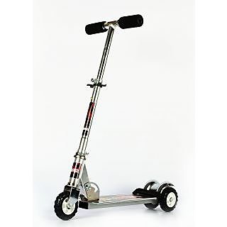 Heavy Metallic Big Size 3 Wheel Height Adjustable Kids Folding Scooter (Silver)