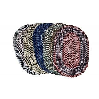 Valtellina Plesant Combo of 5 Multicoloured Oval shaped Door mats (MATS-002)