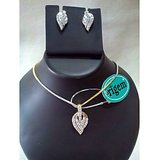 Gold Plated AD Diamond Pendant Set With Earings & Chain