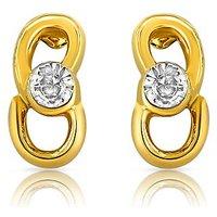 Mahi Gold Plated and CZ Slender Golden Earrings