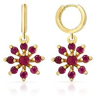 Mahi Gold Plated Sublime Beauty Earrings With CZ And Ruby