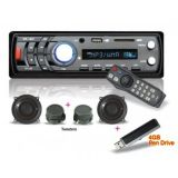 Combo Of Vox 1201 Car Mp3 Player With Fm, Usb, Sd Card Aux-In + Remote + Speakers + Tweeters + 4GB pendrive