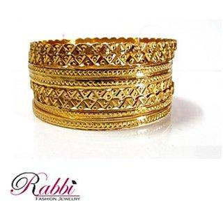 Rabbi Gold Plated Albela 8 Pcs Bangles Size 2.2