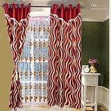 New Designer Maroon Door (7X4 Ft) Curtain
