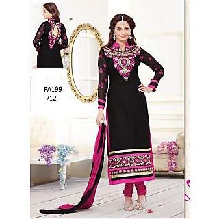 Black And Pink Combination Monica Bedi Long Salwar Kameez
