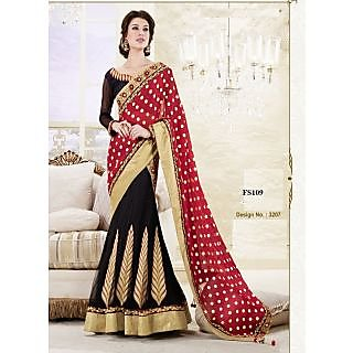 Designer Full Sleeve Black And Red Lehenga Saree