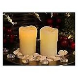 LED Church Pillar Candles With Light Melting Wax. Pair Of Battery Operated