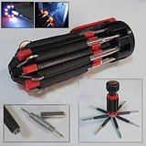 8 IN 1 SCREWDRIVER WITH LED TORCH/ EMERGENCY LIGHT/ FOR CAR/ BIKERS AND HOME [CLONE]