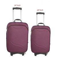 Caris Small (Below 60 Cms) Purple Polyester 2 Wheels Trolley (Set of 2)