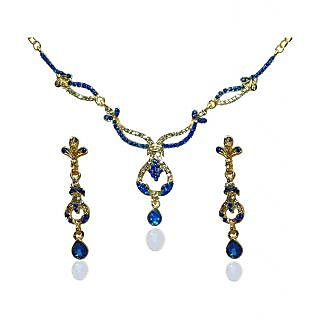 14Fashions Gold Plated Blue Necklace Set  - 1103902
