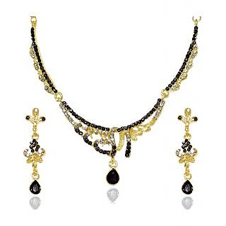 14Fashions Fabulous Gold Plated Necklace Set in Black  -  1103933