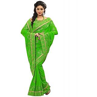Surat Tex Green Pure Poly Georgette Sarees With Unstitched Blouse